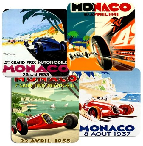 Monaco Grand Prix 1930s Motor Racing Poster Coasters Set Of 4  High Quality Cork